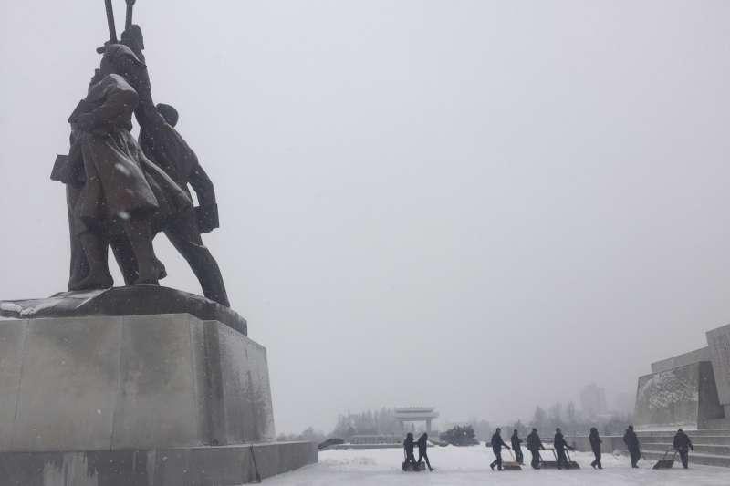 平壤雪景。(美聯社)