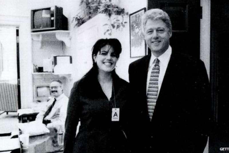 柯林頓與陸文斯基。(BBC中文網)
