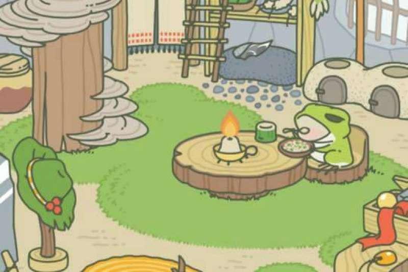 「旅行青蛙」畫風療癒溫暖,近來爆紅。(截自網路)