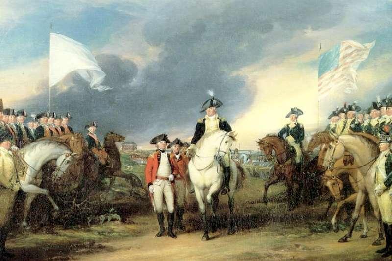 喬治.華盛頓在約克鎮接受康瓦利斯率領英軍投降的情景。(取自維基百科)