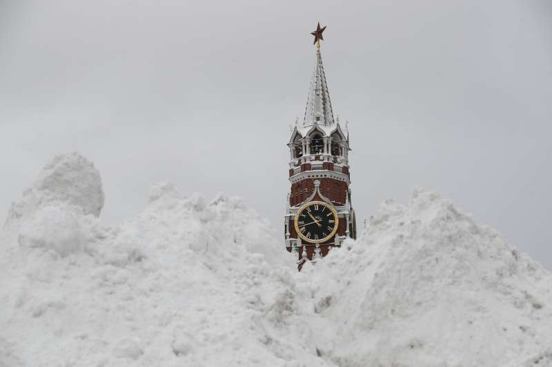 莫斯科大雪。(美聯社)