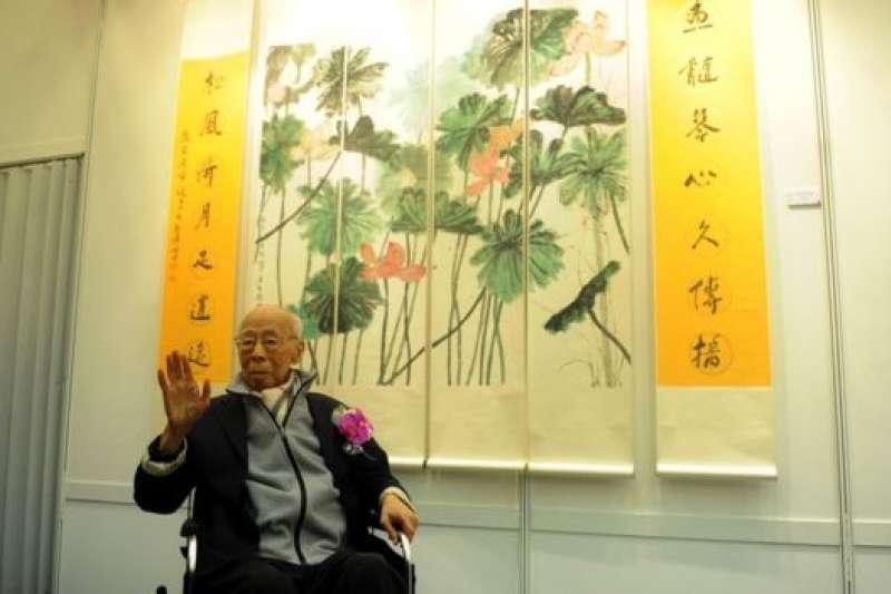 2014年,饒宗頤出席自己畫展的開幕禮。(BBC中文網)