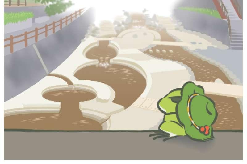 養蛙的流行風潮從中國開始蔓延,一路到台灣,究竟這被稱為「佛系養蛙」的「旅行青蛙」魅力到底在哪?(圖/擷取自旅かえる畫面)