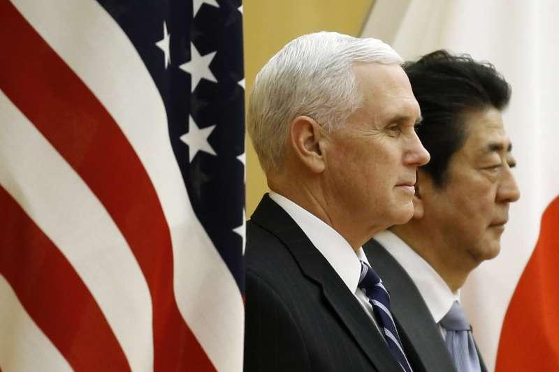 日本首相安倍晉三與美國副總統彭斯。(美聯社)