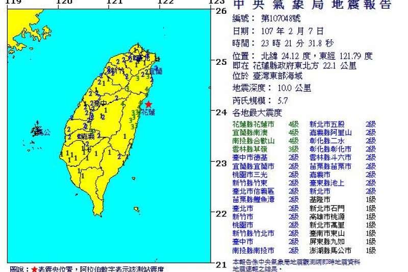 花蓮7日晚間23點21分,花蓮再發生有感地震,規模5.7,花蓮震度4級以上。(取自氣象局)
