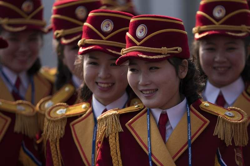 北韓派往平昌冬奧的美女啦啦隊。(美聯社)