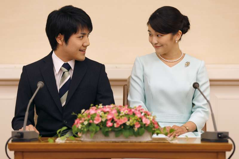 日本內親王真子公主與未婚夫小室圭。(美聯社)