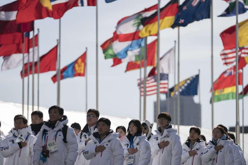 平昌冬奧會的歡迎儀式。(美聯社)