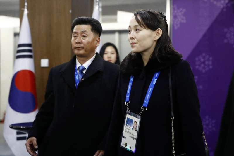 2018年2月9日,平昌冬奧開幕式隆重登場北韓領導人金正恩之妹金與正(右)是最受矚目貴賓(AP)