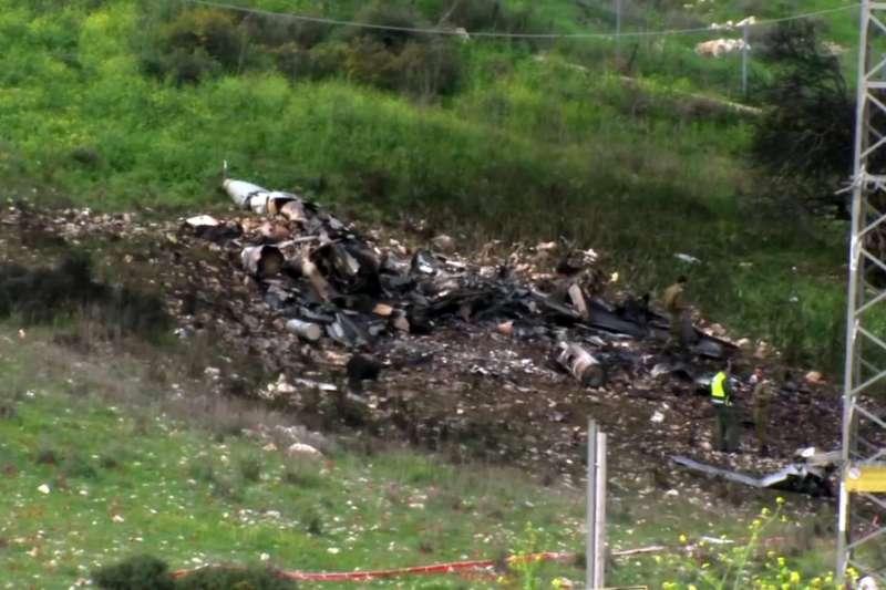 2018年2月10日,以色列空軍一架F-16戰機遭敘利亞政府軍擊落(AP)