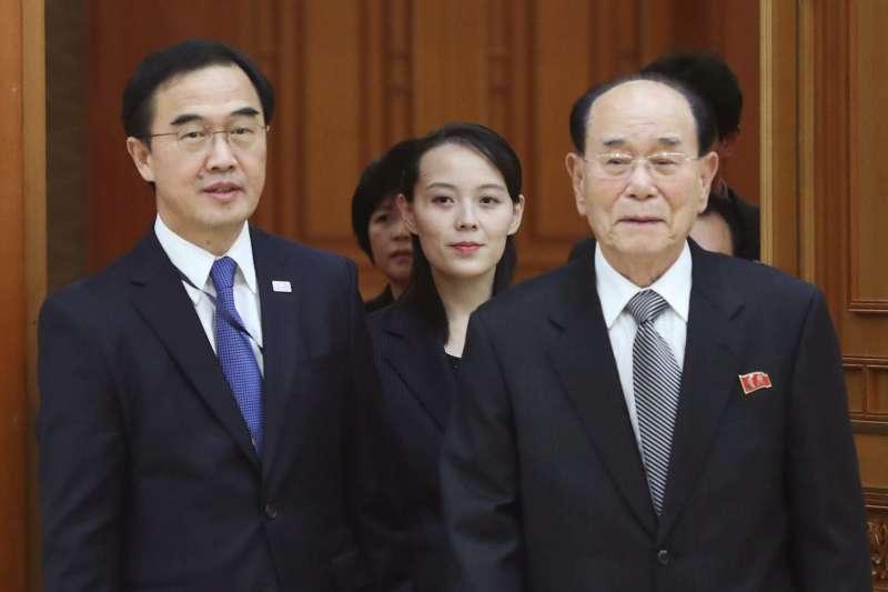 2018年2月10日,北韓領導人金正恩的胞妹金與正(中)、北韓最高人民會議常任委員會委員長金永南(右)訪問南韓總統府青瓦台(AP)