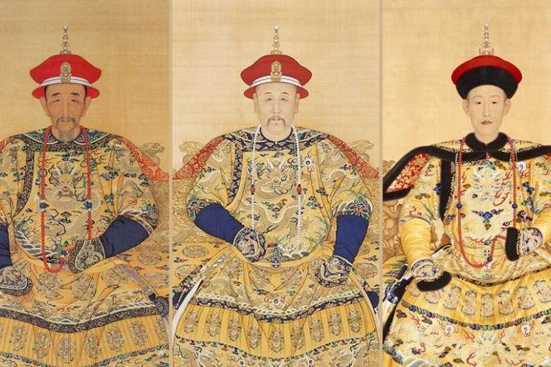 康熙、雍正、乾隆畫像。(圖/後製,原圖取自wiki)