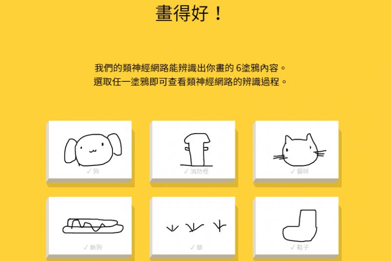 「Quick, Draw ! 限時塗鴉」考驗大家的繪圖功力,狗年特別版遊戲每回合共有6個指定塗鴉物品,包括草、鞋子、貓咪、消防栓、狗、熱狗。(圖/翻攝自quickdraw官網)