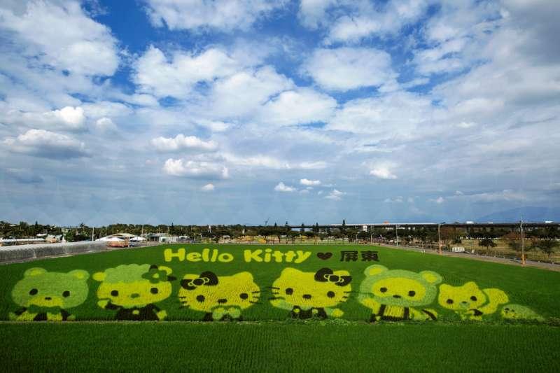由屏東縣政府舉辦的熱帶農業博覽會,種出全球獨一無二3D立體的Hello Kitty彩稻田,超萌的大地藝術引爆人氣。(圖/屏東縣政府提供)