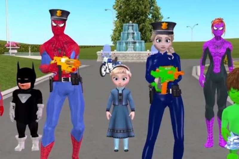 在一段YouTube影片中,蜘蛛俠、艾莎等角色均被二次創作。(BBC中文網)