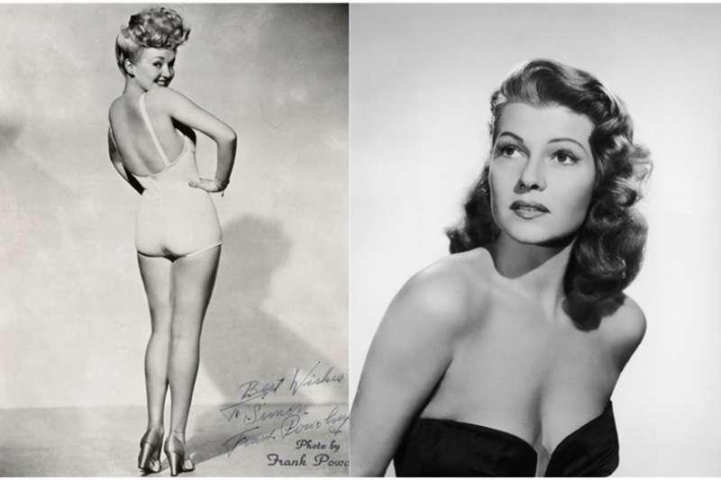 在50年代,美國大兵們心中的女神就是當紅電影明星-麗塔‧海華絲和貝蒂‧葛萊寶。(圖/澎湃新聞提供)