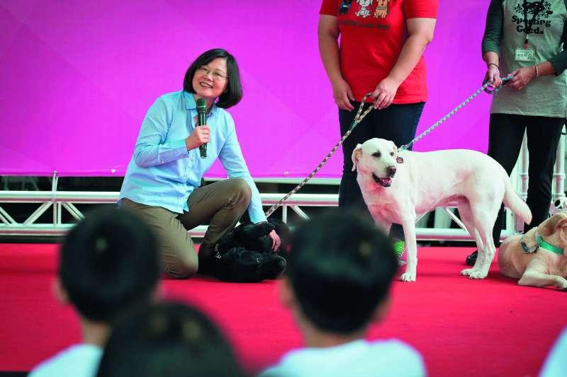 2016年,蔡英文(左)出席全球導盲犬發展百周年慶活動,會中正式宣布將收養三隻退役導盲犬。(總統府提供)