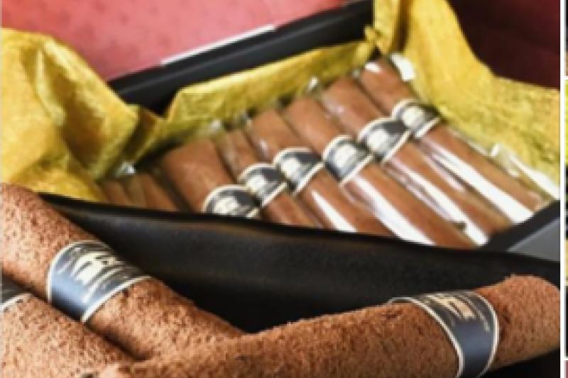 國內業者引進日本甜點銷售,並主打Cigare原味雪茄蛋捲,因所製造、輸入或販賣雪茄蛋捲與菸品形狀相似,已涉嫌違反菸害防制法第14條規定,若經查證屬實,可處以1萬至5萬不等罰鍰。(圖/苗栗縣政府提供)