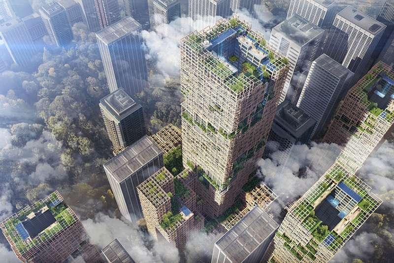 350公尺高木造的摩天大樓「W350」落成後,將成為世界最高木造建築,同時也是日本第一高樓。(圖/取自Dezeen,瘋設計提供)