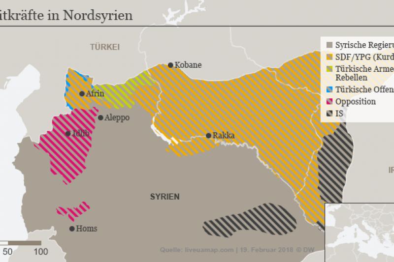 各勢力在敘利亞的領地(德國之聲)