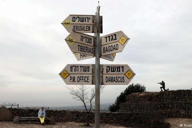 標示中東各大城市位置的路標。(德國之聲)