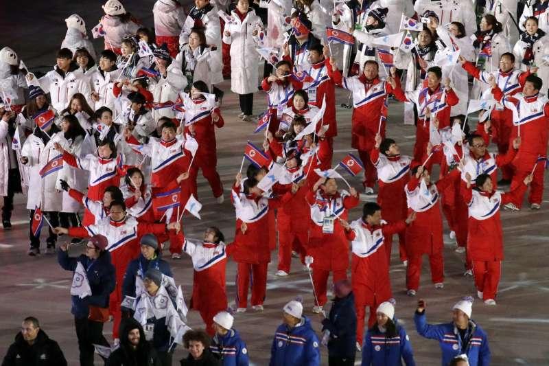 2018年2月25日,平昌冬奧閉幕式,兩韓選手一起進場(AP)