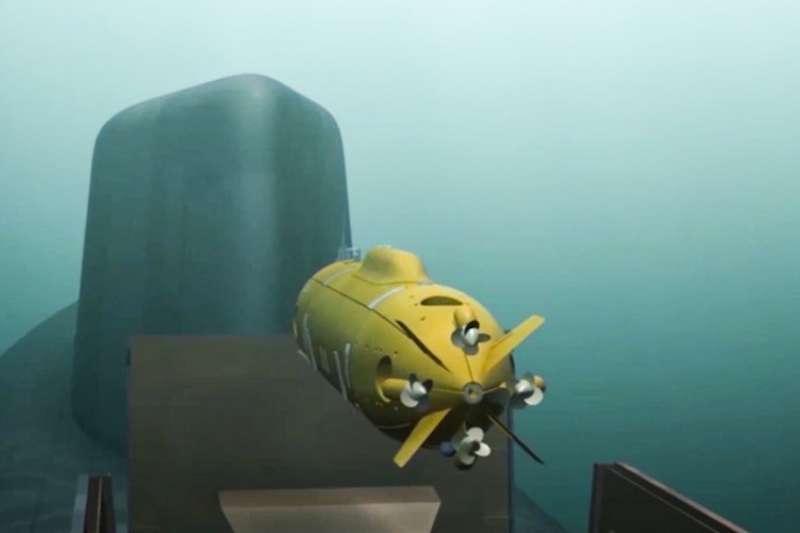 普京1日發表年度演說,公布新型核子無人潛艇的電腦動畫。(AP)