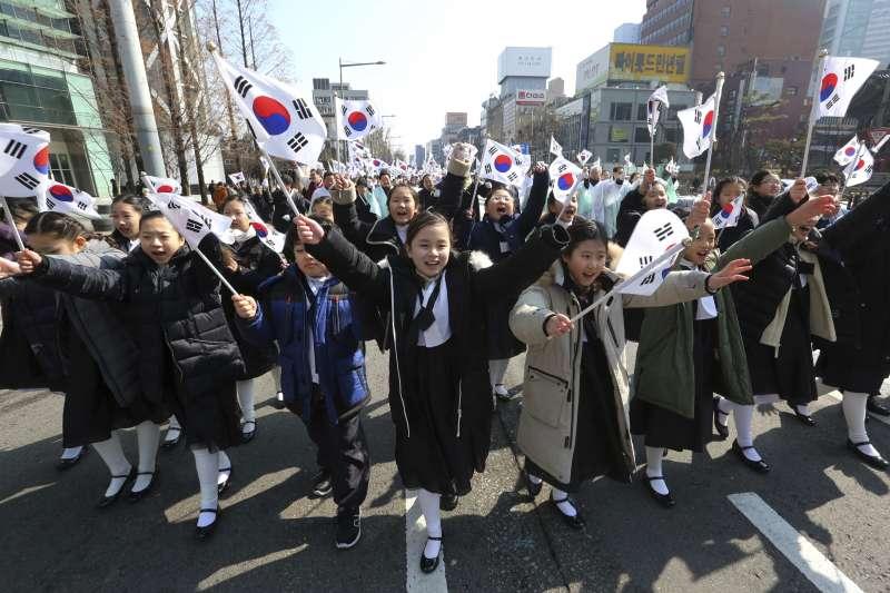 2018年3月1日,南韓各界在首爾西大門刑務所歷史館舉行「紀念三一運動99周年儀式」(AP)