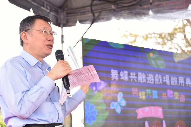針對遭民進黨秘書長洪耀福說用膝蓋反應在回答問題,台北市長柯文哲表示,他的意思是要我不要跟陳菊鬥嘴。(北市府提供)