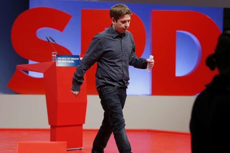 年僅28歲的庫納特(Kevin Kühnert),成為德國總理梅克爾組閣的最大障礙。(AP)