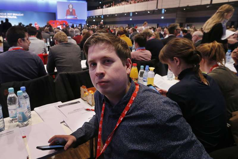 德國左派大黨社會民主黨(SDP)青年黨團領袖庫納特(Kevin Kühnert)(AP)