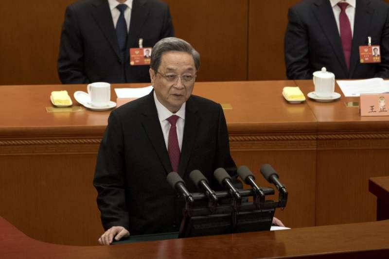 2018年3月3日,中國全國政治協商會議開幕,主席俞正聲就過去5年的政協工作進行報告。(AP)