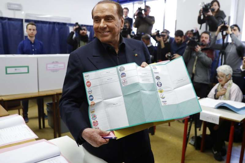義大利前總理貝魯斯柯尼4日在米蘭投票。(美聯社)
