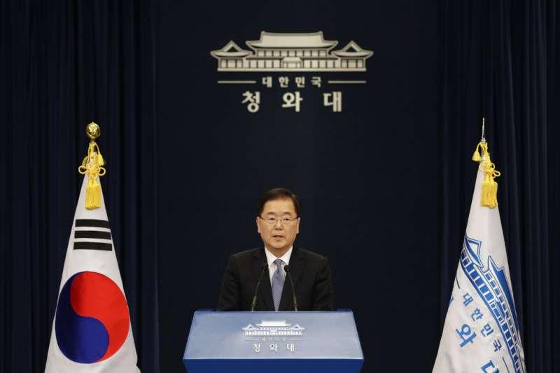 青瓦台說明總統特使團訪問平壤的狀況。(美聯社)