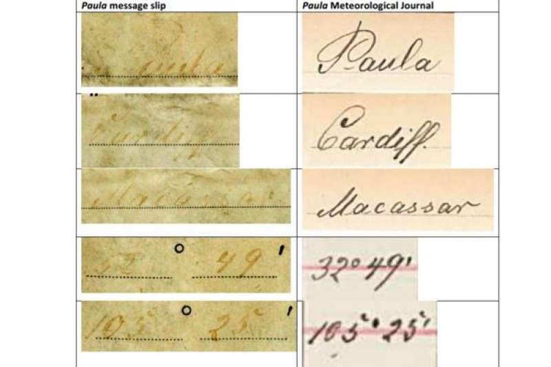 左邊是瓶中信上的字跡,右邊是德國檔案資料顯示的保拉號船長手寫的氣象日誌。(BBC中文網)