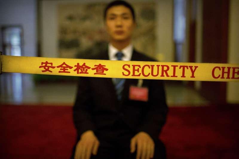 2018中國兩會,中國第十三屆全國人大一次會議對取消國家主席任期在內的修憲案進行表決,戒備森嚴(AP)