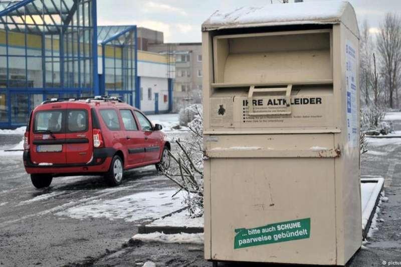 德國街頭的衣服回收箱。(德國之聲)
