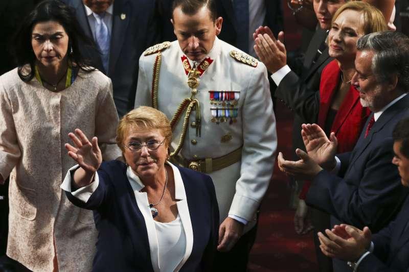 2018年3月11日,智利總統巴舍萊(Michelle Bachelet)卸任(AP)