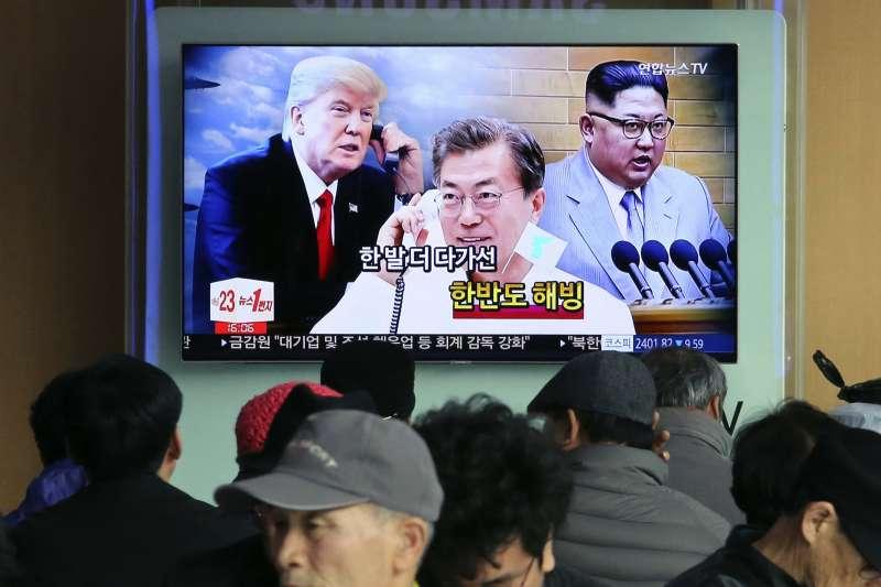 美國總統川普、南韓總統文在寅、北韓領導人金正恩三角關係如何發展,舉世矚目(AP)