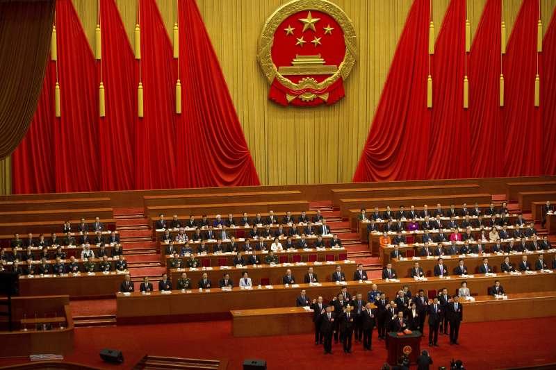 中國第十三屆全國人大一次會議在北京人民大會堂舉行第五次全體會議。(美聯社)