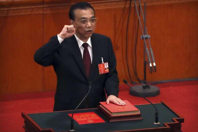 2018年3月18日,中國國務院總理李克強在人大宣誓就職(AP)