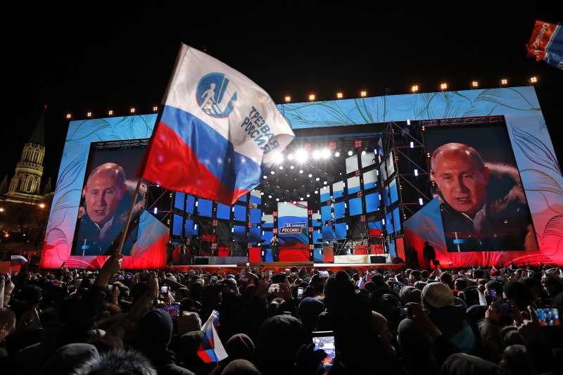 2018年3月18日,俄羅斯總統選舉投票日,普京總統順利連任(AP)