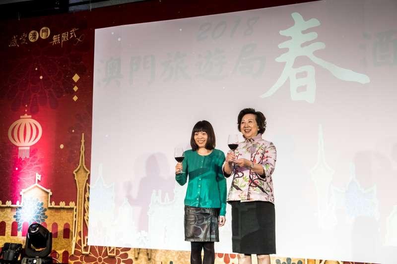 澳門經濟文化辦事處主任梁潔芝出席了於台北舉辦春酒暨旅遊交易會春酒宴會(圖/澳門旅遊局提供)