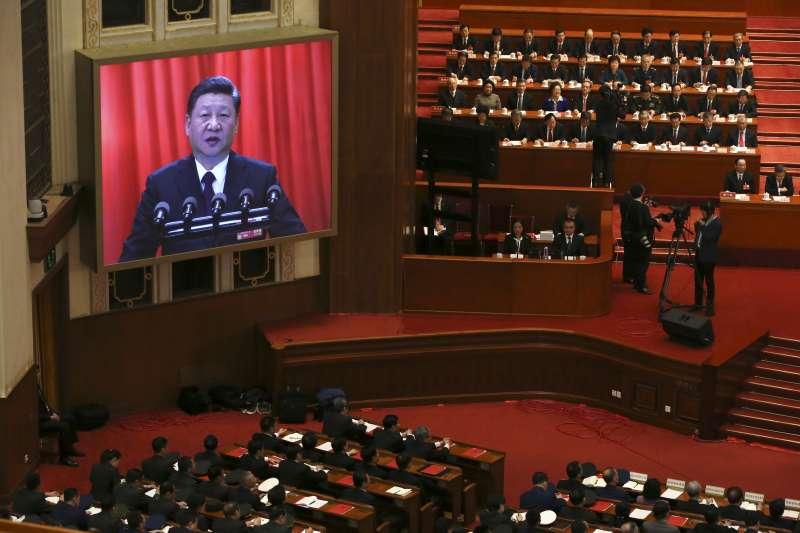 2018-03-20-中國兩會,人大舉行閉幕典禮,國家主席習近平表談話04。(美聯社)