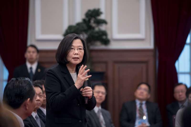 2018年3月23日,總統蔡英文在接見亞洲台灣商會聯合總會回國訪問團。(總統府)