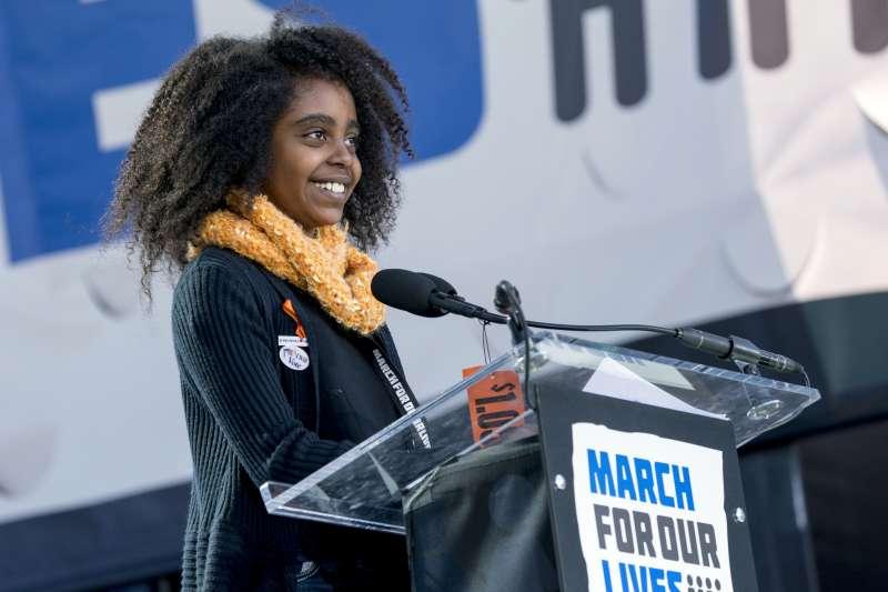 美國「為生命而走」大遊行:11歲小五生瓦德勒為命喪槍下的非裔女性發聲(AP)
