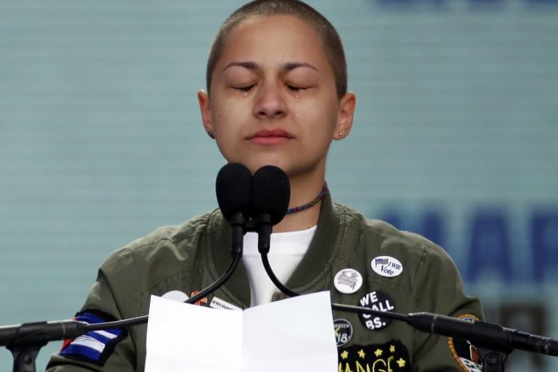 美國「為生命而走」大遊行:帕克蘭校園槍擊案倖存學生艾瑪.岡薩雷茲(AP)