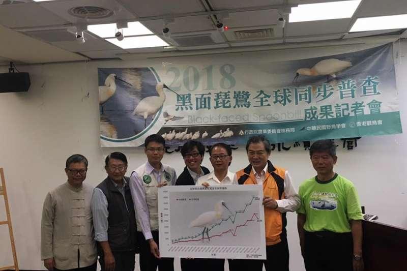 中國民國野鳥協會、香港觀鳥會、林務局今(28)日召開黑面琵鷺全球普查成果記者會,公布全球黑琵數量不變,台灣減少406隻。(圖取自中華鳥會臉書粉絲專頁)