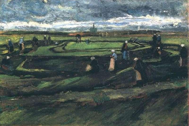 梵谷早期畫作《沙丘上補漁網的女子》(Wikipedia/Public Domain)