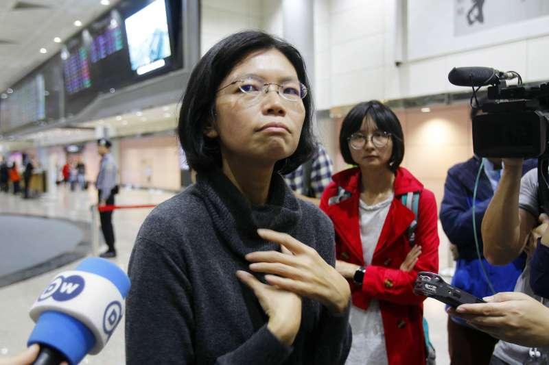 2018年3月28日,桃園國際機場,台灣NGO工作者李明哲的妻子李凈瑜,試圖前往中國探視遭囚禁的丈夫。(AP)